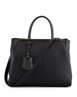 Fendi 2Jours Vitello Elite Shopping Bag, Black