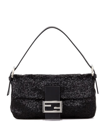 Beaded Shoulder Baguette, Black