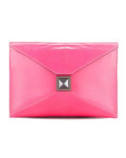 Kara Ross Prunella Lizard Clutch Bag, Pink Blaze