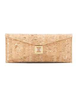 Kara Ross Prunella Small Cork Clutch Bag, Gold Fleck