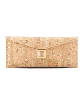Prunella Small Cork Clutch Bag, Gold Fleck