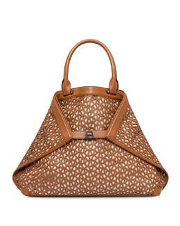 Akris Ai Laser-Cut Leather Medium Tote, Cuoio