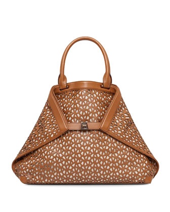 Al Laser-Cut Leather Medium Tote, Cuoio