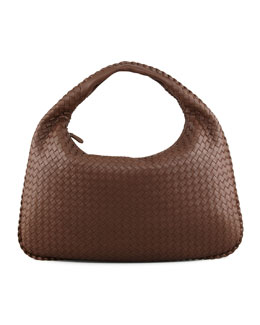 Bottega Veneta Veneta Large Woven Hobo Bag, Brown