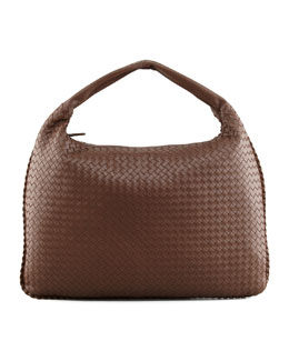 Bottega Veneta Veneta Maxi Woven Hobo Bag, Brown