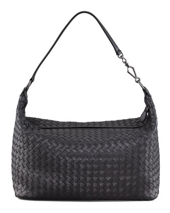 Woven Leather Medium Shoulder Bag, Black