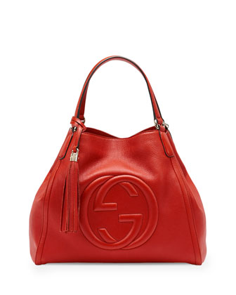Soho Leather Shoulder Bag, Red