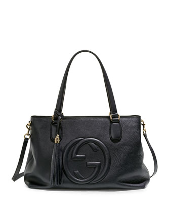Soho Leather Working Tote, Black
