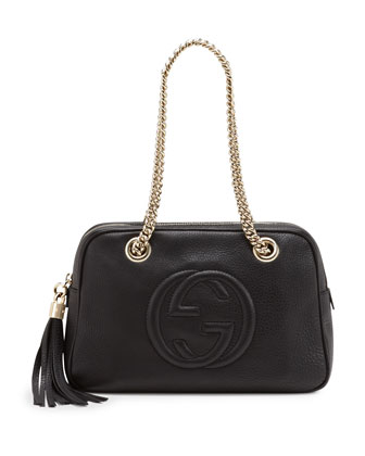 Soho Leather Double-Chain-Strap Shoulder Bag, Black