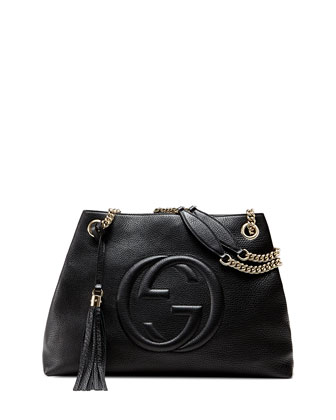 Soho Leather Medium Chain-Strap Tote, Black