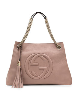 Gucci Soho Leather Medium Chain-Strap Tote, Dark Cipria