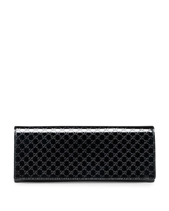 Broadway Microguccissima Patent Leather Evening Clutch, Black