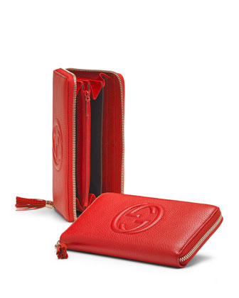 Soho Leather Zip-Around Wallet, Red