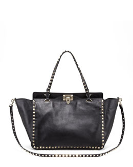 Valentino Medium Rockstud Tote Bag, Nero