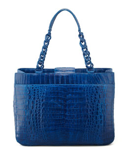 Nancy Gonzalez Crocodile Chain-Strap Tote Bag, Electric Blue