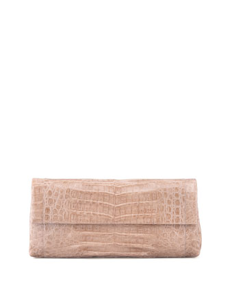 Flap-Top Crocodile Clutch Bag, Nude