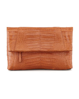 Nancy Gonzalez Crocodile Messenger Fold-Over Clutch Bag, Cognac