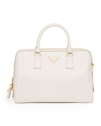 Saffiano Lux Satchel Bag, White (Talco)
