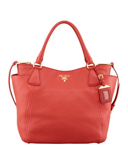 Prada Daino Double-Pocket Tote Bag, Red