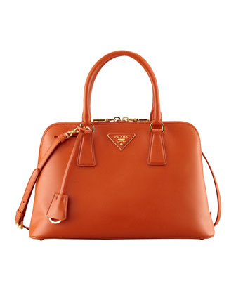 Saffiano Promenade Handbag, Orange (Papaya)
