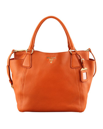 Daino Double-Pocket Tote Bag, (Orange) Papaya