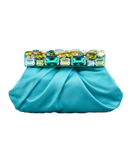 Prada Raso Jeweled Satin Clutch Bag, Pavone