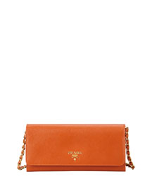 Saffiano Wallet on a Chain, Orange (Papaya)