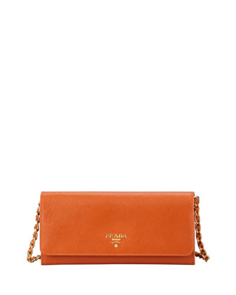 Saffiano Wallet on a Chain, Papaya (Orange)