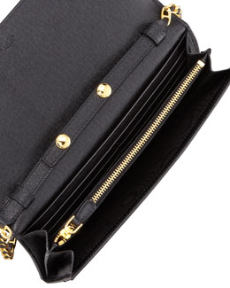 Prada Saffiano Wallet on a Chain, Nero