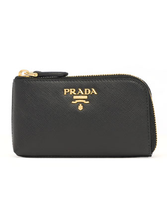 Saffiano Key Pouch, Black (Nero)
