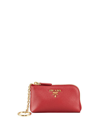 Saffiano Key Pouch, Red (Fuoco)