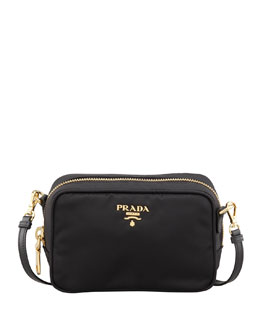 Prada Tessuto Small Crossbody Bag, Black