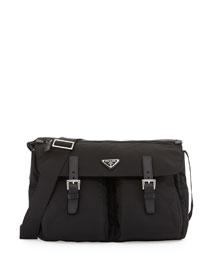 Vela Buckle-Pocket Messenger Bag, Black (Nero)