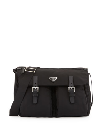 Vela Buckle-Pocket Messenger Bag, Black