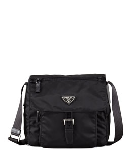 Prada Vela Flap-Front Messenger Bag, Nero