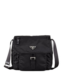 Vela Flap-Front Messenger Bag, Black (Nero)