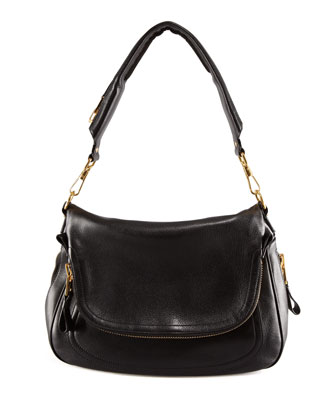 Jennifer Large Black Calfskin Shoulder Bag