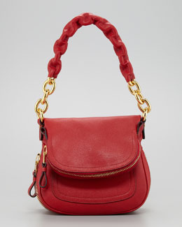 Tom Ford Jennifer Calfskin Maxi-Chain Shoulder Bag, Red