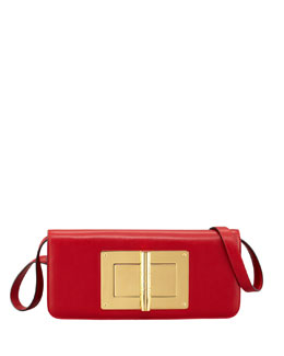 Tom Ford Natalia Calfskin East-West Shoulder Bag, Red
