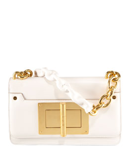 Tom Ford Maxi Chain Ivory Calfskin Shoulder Bag