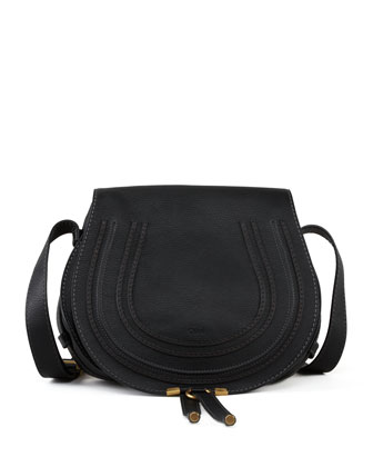 Marcie Horseshoe Crossbody Satchel Bag, Black