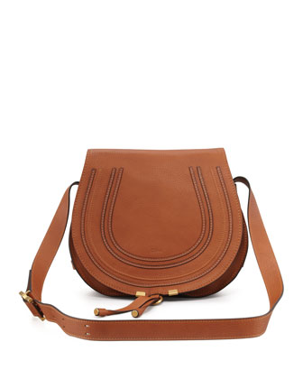 Marcie Horseshoe Crossbody Satchel Bag, Tan
