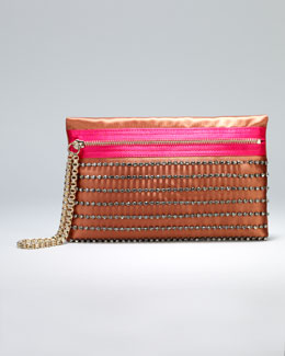 Lanvin Faubourg Small Satin Clutch Bag, Rust