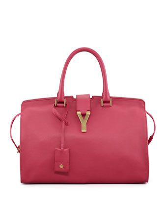 Y Ligne Medium Soft Leather Bag, Fuchsia