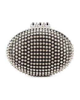 Christian Louboutin Spiked Clutch Bag, Black/Silver