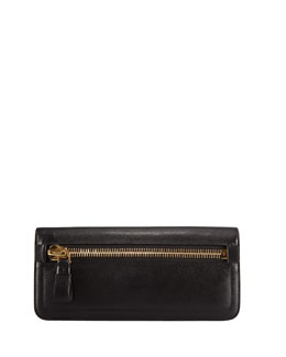 Tom Ford Jennifer Zip Calfskin Clutch Bag, Black