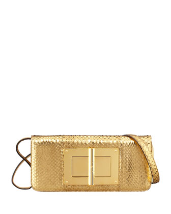 Natalia East-West Python Shoulder Bag, Golden