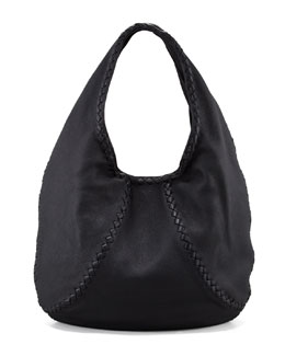 Bottega Veneta Cervo Large Hobo Bag, Black