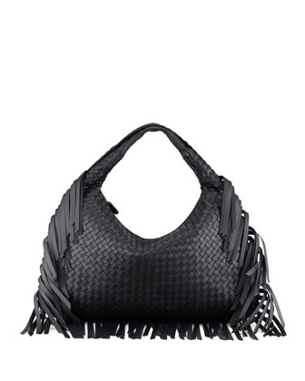 Veneta Large Fringed Hobo Bag, Black