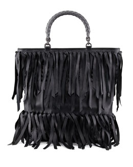 Bottega Veneta Woven-Handle Fringe Leather Tote Bag, Black